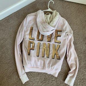 Vs pink sequin hoodie